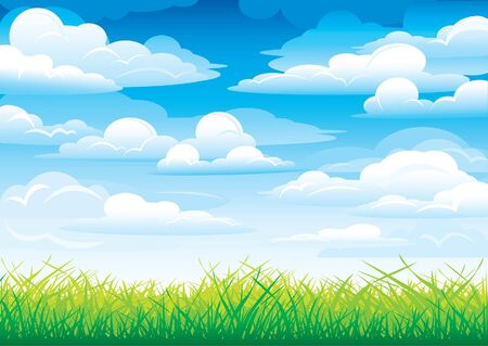over the hill: Green grass in a blue sky and clouds Illustration