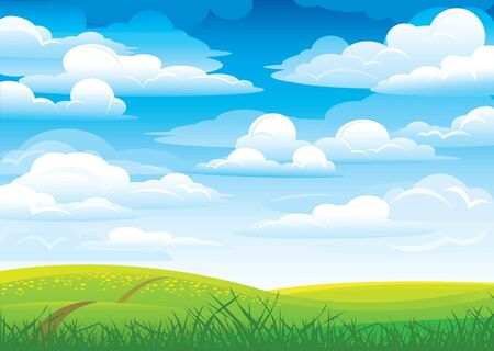 Group clouds on blue sky and green meadow with road and flowers Stock Vector - 9915478