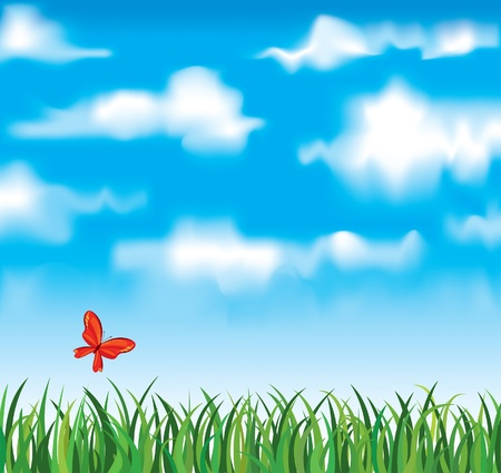 Vector green grass with red butterfly on a white clouds and dlue bky background