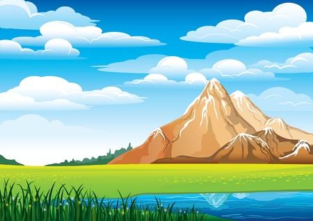 Zielony krajobraz z łąki, niebieski jeziora i gór na tle nieba