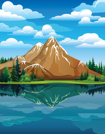 Vector landscape with snow mountains, green trees and blue lake on a cloudy sky background