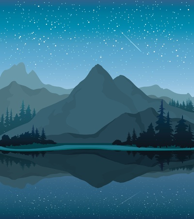 Vector night landscape with mountains, lake and forest on a starry sky background