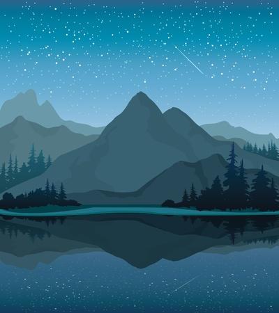 Vector paisaje nocturno con las montañas, el lago y el bosque en un fondo de cielo estrellado