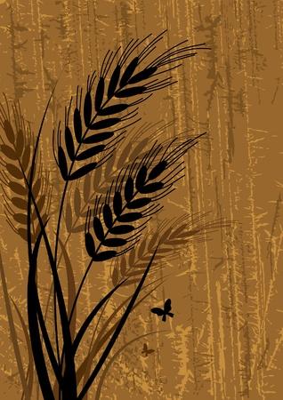 cebada: Sihouette vector negro de centeno con vidrio sobre un fondo marrón abstracto