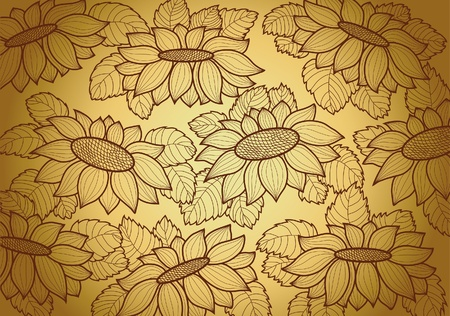 yellow wallpaper with brown sunflowers Vector
