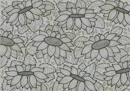 graine tournesol: fond d'�cran gris avec des tournesols et des semences