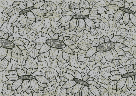 gray wallpaper with sunflowers and seed Vector