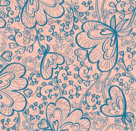 modern wallpaper:  pink wallpaper with beautiful blue abstract flowers Illustration