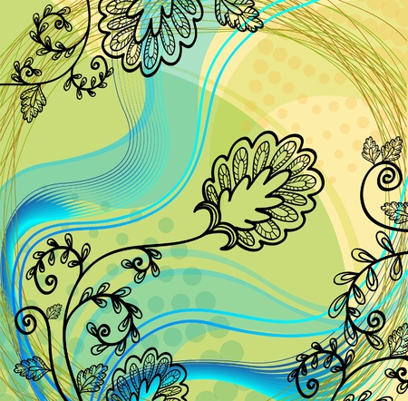 hand drawn flower on a abstract background  Vector