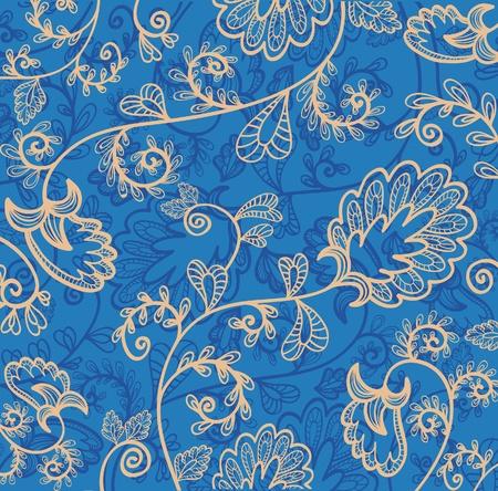blauw behang met prachtige abstracte bloemen