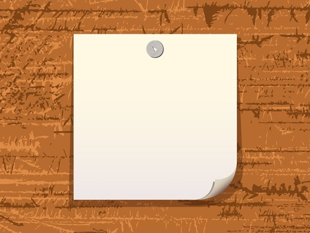White blank advertisement with button on a wood background.  Vector