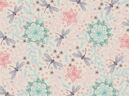 wallpaper with blossom flowers and dragonfly on a beige background Vector
