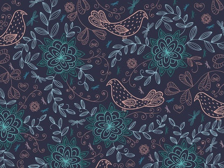 Floral summer background with cartoon birds.  Vector