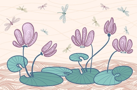 pink  water flowers and colored dragonfly on a beige background Stock Vector - 10425776