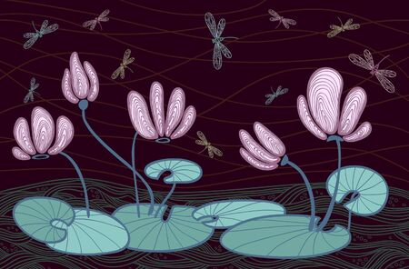 pink water flowers and colored dragonfly on a dark background Vector