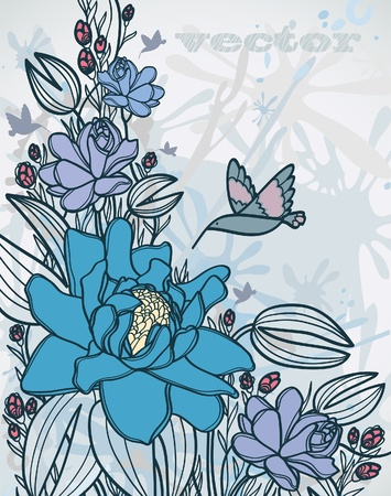 Summer with blue flowers and flying hummingbird on a gray background Vector