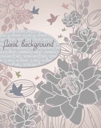 Summer with bloom flowers and flying hummingbird on a beige dackground Vector