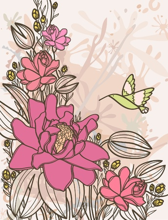 Summer with pink flowers and flying hummingbird on a beige background Vector