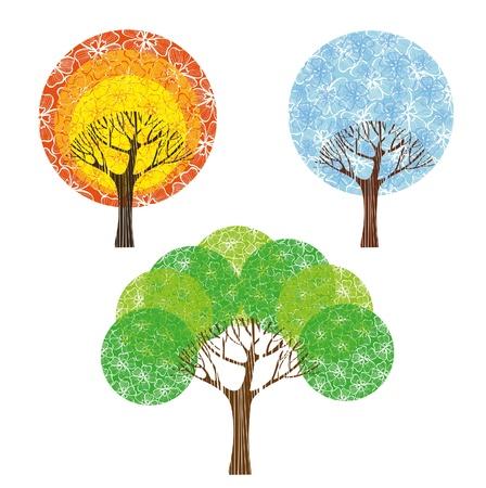 virágzó: Csoport színes fák fehér alapon