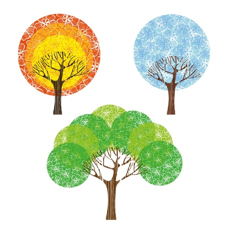 flowering: Group colored trees on white background