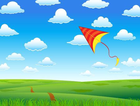 summer green field with red kite and clouds on a blue sky background