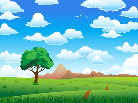 birds scenery: Green landscape with tree, mountains and clouds on a blue sky background