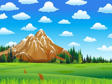 Green landscape with meadow, forest and mountains on a cloudy sky background