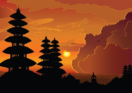 indonesian old temple pura Besakih on a cloudy sunset background. Bali. Stock Vector - 10425734