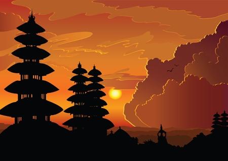 indonesien: Indonesische alten Tempel Pura Besakih an einem bew�lkten Sonnenuntergang Hintergrund. Bali.