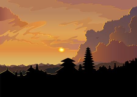 indonesisch: Indonesische oude tempel Pura Besakih op een bewolkte zonsondergang op de achtergrond. Bali.