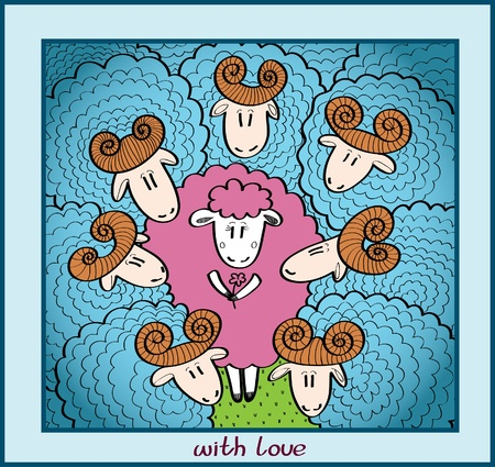 intrigue: Funny cartoon card with one pink pretty sheep and group blue rams
