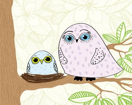 two parent family: Cartoon family owls sitting on a tree Illustration