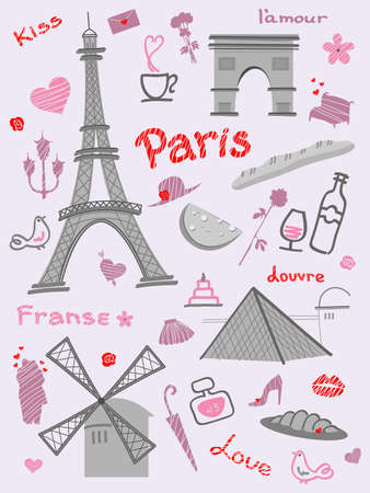 france perfume: collection of symbols of Paris on a pink background. Hand drawing.  Illustration