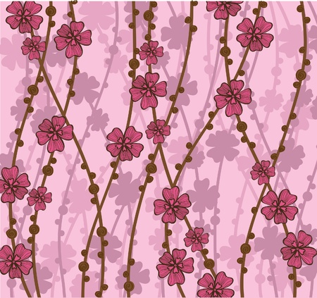 blooms:  pink wallpaper with beautiful abstract japanese flowers