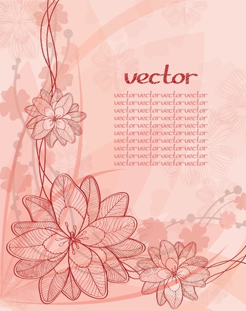 summer card with red graphic flowers Vector