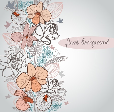 outline flower: Summer with bloom flowers and flying hummingbird on a beige background Illustration