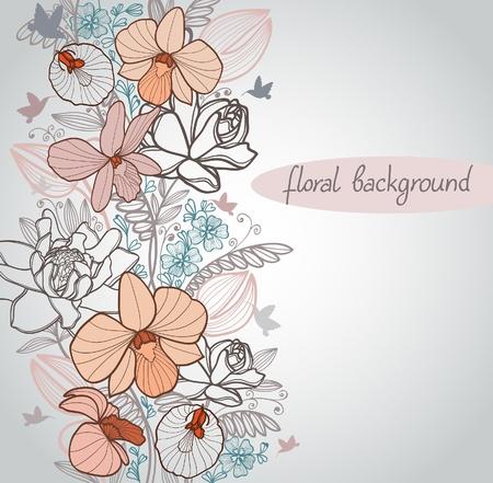 Verano con flores de bloom y Colibr� volando sobre fondo beige