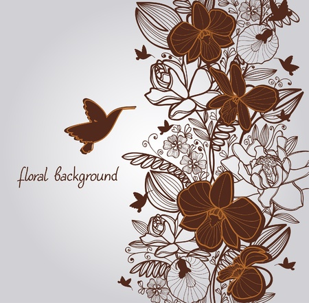 Summer with bloom flowers and flying hummingbird on a gray background Vector