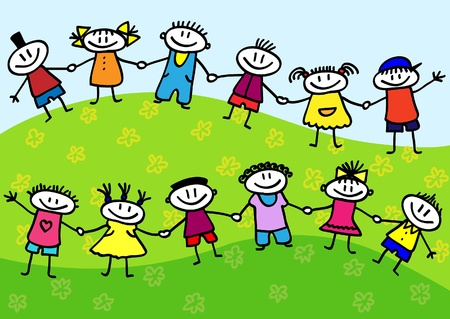 children group: Funny cartoon group of children standing on a green grass
