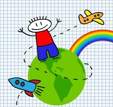 Funny vector picture with the boy, rainbow, green earth and flying rocket and aircraft Vector