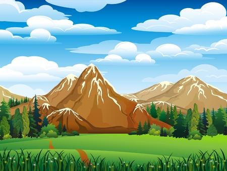 Paysage vert avec des prés, des forêts et montagnes sur un fond de ciel nuageux