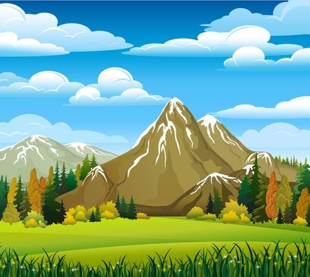 ilustracion: Paisaje de oto�o con prados, bosques y monta�as sobre un fondo de cielo nublado