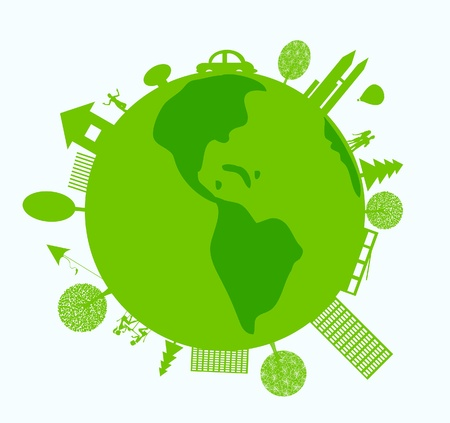 save planet: Green world with eco-friendly life
