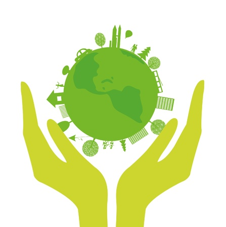 human hands and green planet on a white background Vector