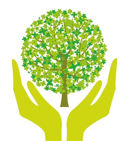Illustration with human hands and green tree