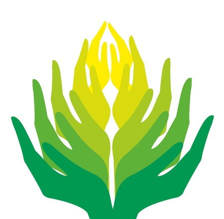 help icon: group of green human hands on a white background