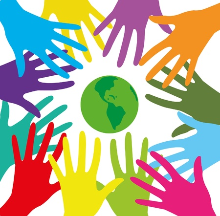 caring hands:  group of colored human hands and green planet on a white background Illustration