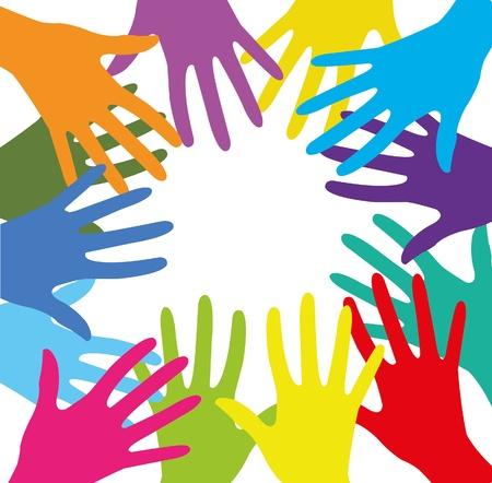 group of colored human hands on a white background