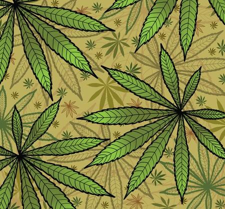 hoja marihuana: Fondo de pantalla con leavs verde de cannabis  Vectores