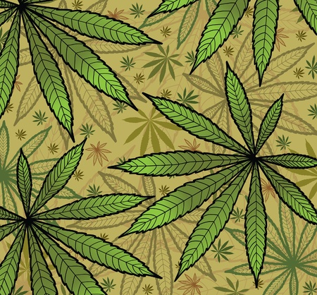 cannabis leaf: Wallpaper with green leavs of cannabis  Illustration